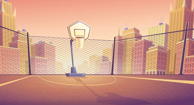 Kreskówka tło boisko do koszykówki w mieście. boisko sportowe zewnętrzne z koszem do gry. Darmowych Wektorów
