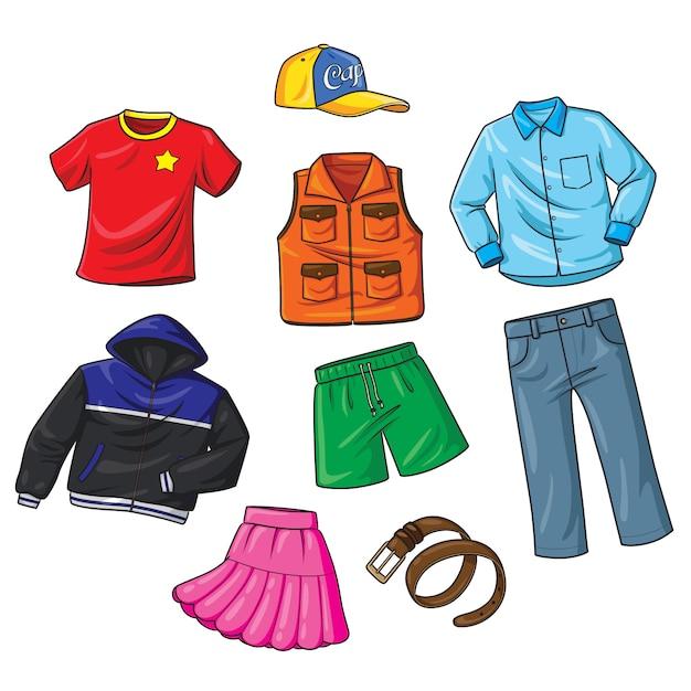 Kreskówka Ubrania Premium Wektorów