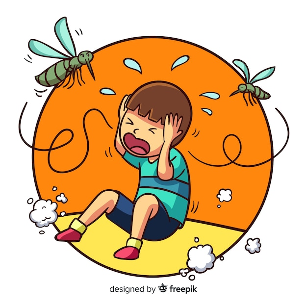 Kreskówka ukąszenia komara tło Darmowych Wektorów