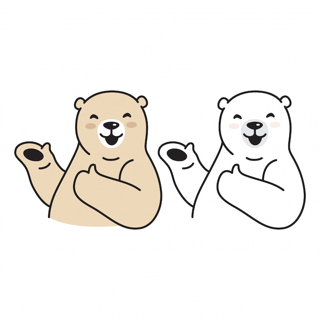 Kreskówka Uśmiech Niedźwiedzia Polarnego Premium Wektorów
