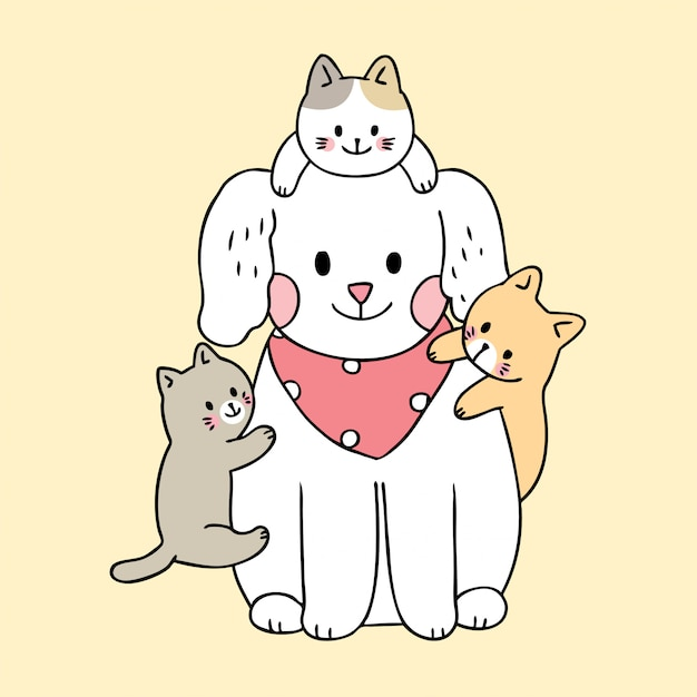 Kreskówka Wektor ładny Pies I Koty Premium Wektorów