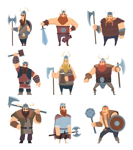 Kreskówka Wikingów. Mitologia średniowiecznych Wojowników Nordyckich Postaci Wektorowych Premium Wektorów