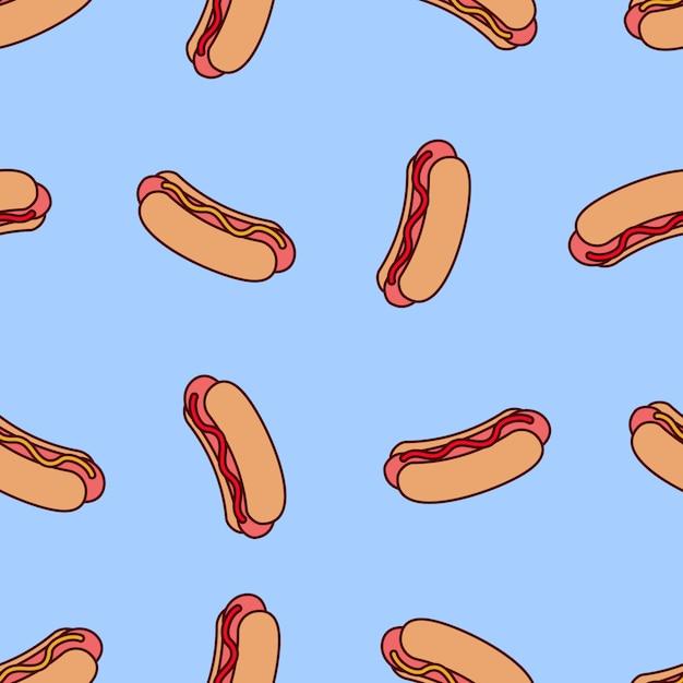 Kreskówka wzór z hot dogiem Premium Wektorów