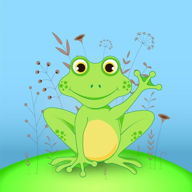 Kreskówka żaba Z Kwiatami Premium Wektorów