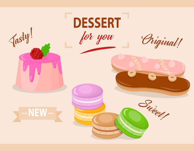 Kreskówka Zestaw Ciasta Z Polewą I Malinami Premium Wektorów