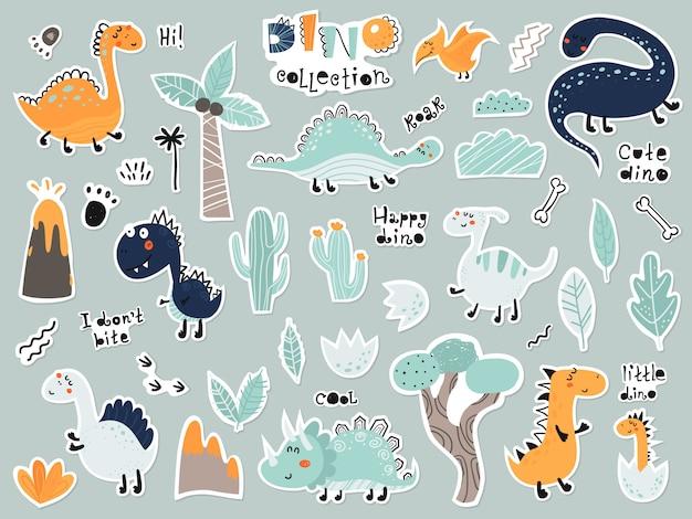 Kreskówka zestaw naklejek z dinozaurami, roślinami, wulkanem Premium Wektorów