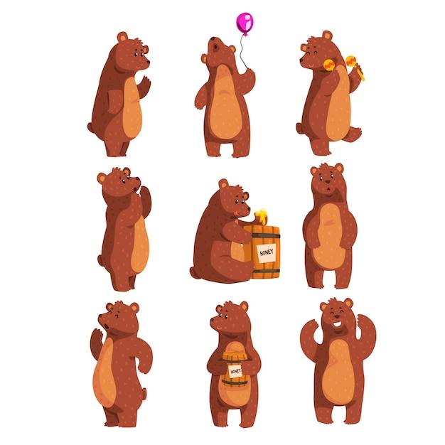 Kreskówka Zestaw Z Zabawnym Niedźwiedziem Brunatnym Premium Wektorów