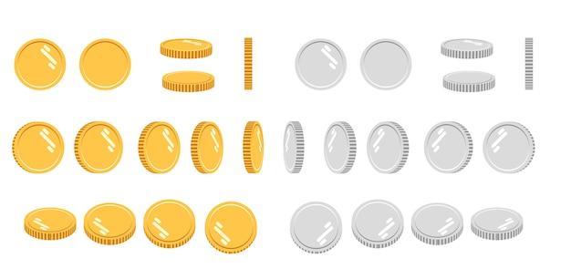 Kreskówka Zestaw Złotych I Srebrnych Monet Premium Wektorów