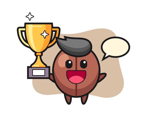 Kreskówka Ziarna Kawy Szczęśliwy Trzyma Złote Trofeum Premium Wektorów