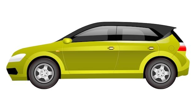 Kreskówka Zielony Hatchback. Premium Wektorów