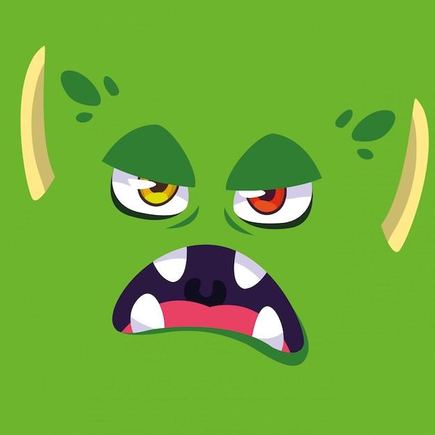 Kreskówka zielony potwór Premium Wektorów