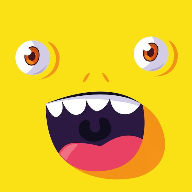 Kreskówka żółty potwór Premium Wektorów