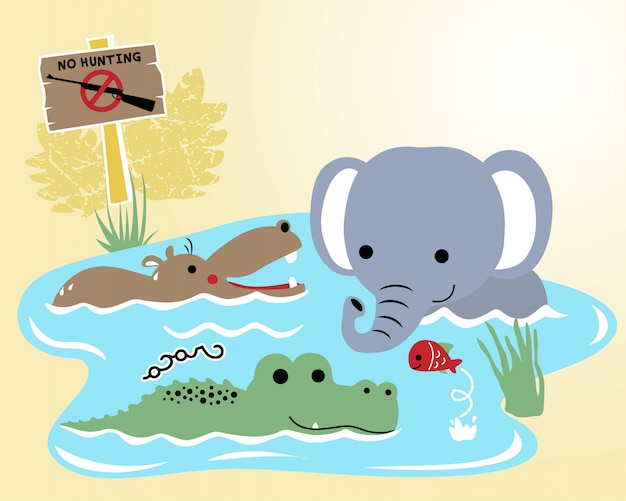 Kreskówka zwierząt dzikich na bagnach Premium Wektorów