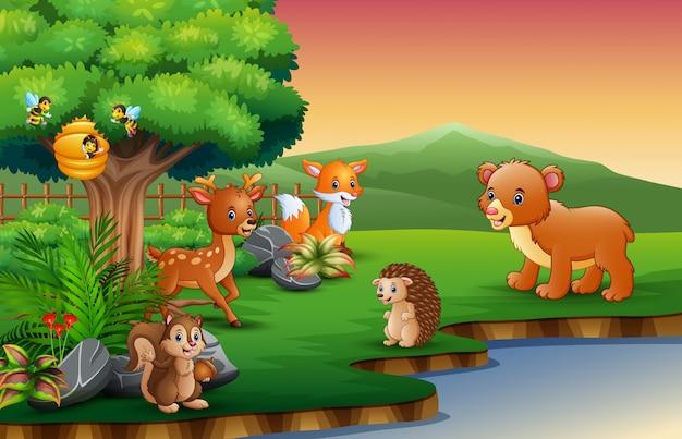 Kreskówka zwierząt korzysta z natury nad rzeką Premium Wektorów