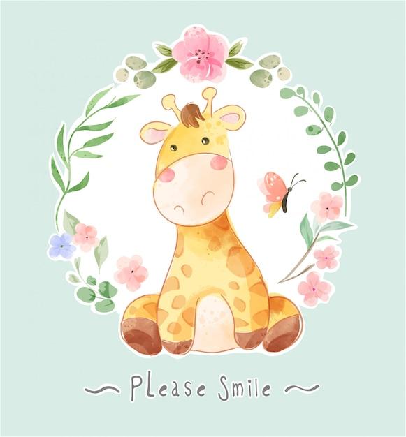 Kreskówka żyrafa I Motyl W Kwiatowy Ilustracja Ramki Premium Wektorów