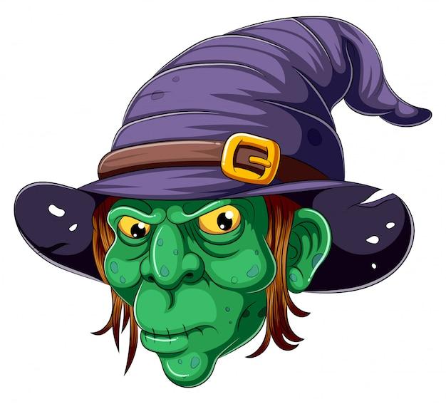 Kreskówki czarownicy twarz na białym tle Premium Wektorów