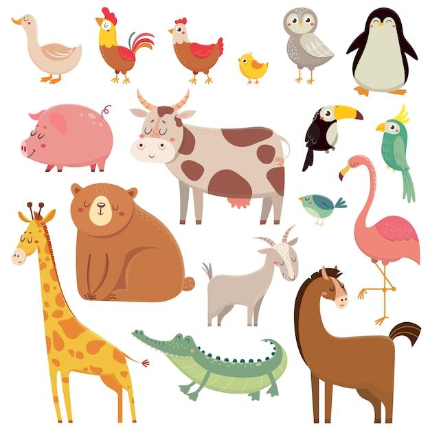 Kreskówki dla dzieci dziki niedźwiedź, żyrafa, krokodyl, ptak Premium Wektorów