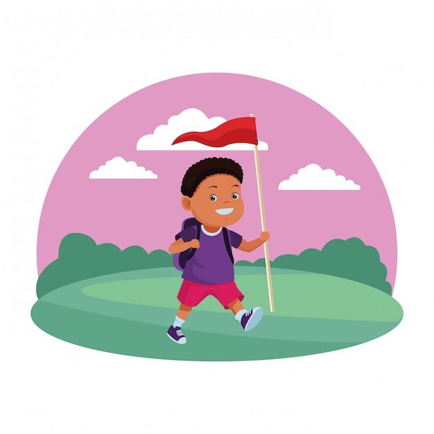 Kreskówki Dla Dzieci I Obozów Letnich Premium Wektorów