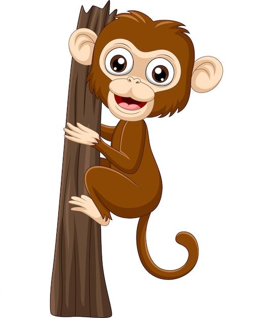 Kreskówki dziecka małpy wspinaczkowa gałąź Premium Wektorów