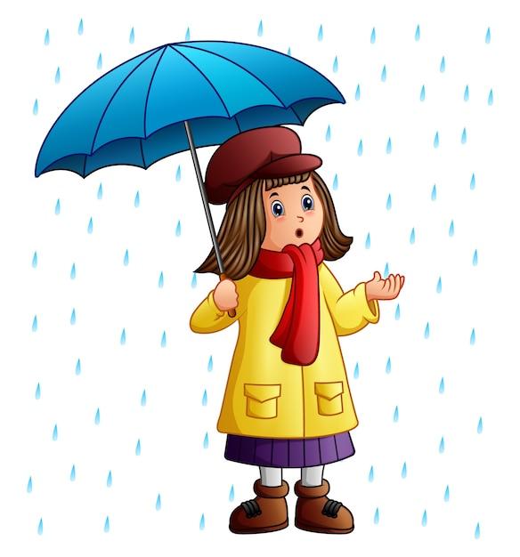 Kreskówki Dziewczyna Z Parasolową Pozycją Pod Raindrops Premium Wektorów