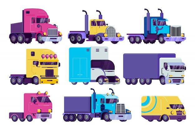 Kreskówki Ilustraci Ciężarowy Set, Mieszkanie Semi Autotruck, Samochód Dostawczy, Ciężarówka I Ciężki Pojazd Dla Doręczeniowych Ikon Odizolowywających Na Bielu Premium Wektorów