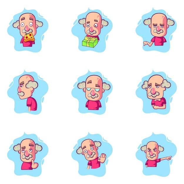 Kreskówki ilustracja starego człowieka set Premium Wektorów