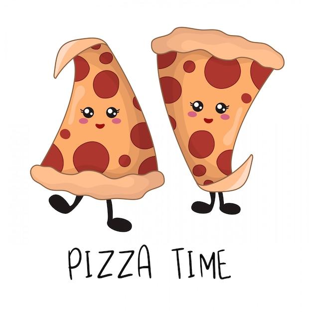 Kreskówki kawaii fast food - kawałki pizzy pepperoni Premium Wektorów