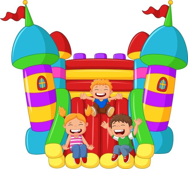 Kreskówki małe dziecko bawić się obruszenie na nadmuchiwanym balonie Premium Wektorów