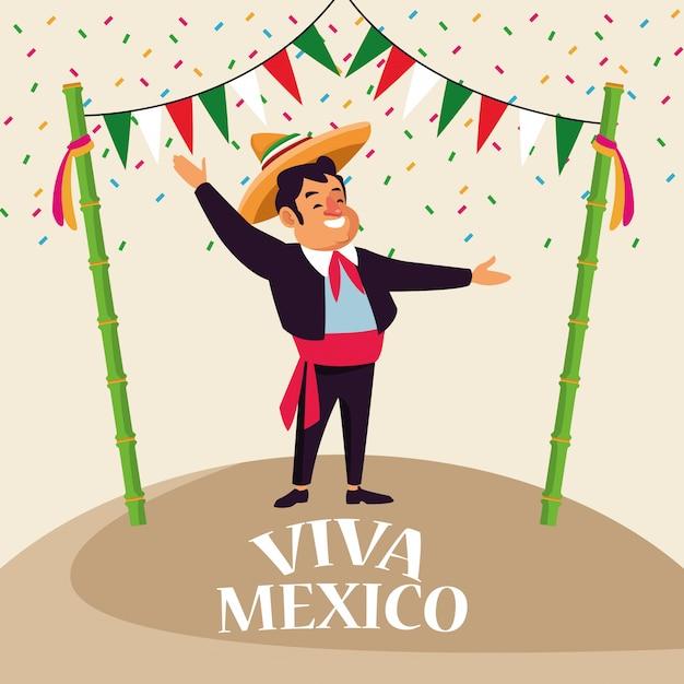 Kreskówki meksykańskie viva Premium Wektorów