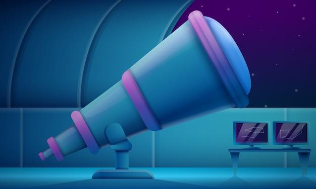 Kreskówki Obserwatorium Z Teleskopem Przy Nocą, Wektorowa Ilustracja Premium Wektorów