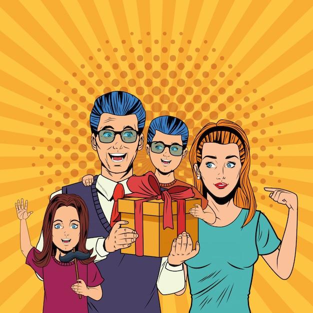 Kreskówki Pop-artowe Z Okazji Dnia Ojca Premium Wektorów