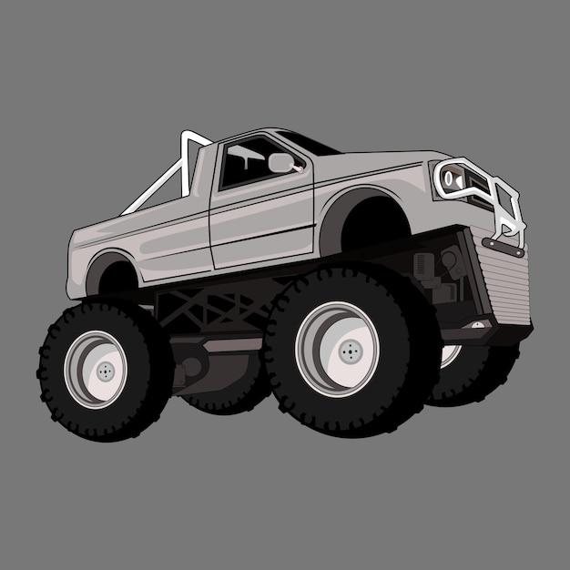 Kreskówki Potwora Ilustracyjnej Ciężarówki Duża Stopa Premium Wektorów