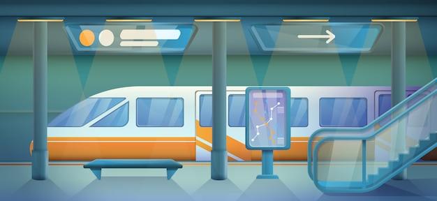 Kreskówki Pusta Stacja Metru, Wektorowa Ilustracja Premium Wektorów