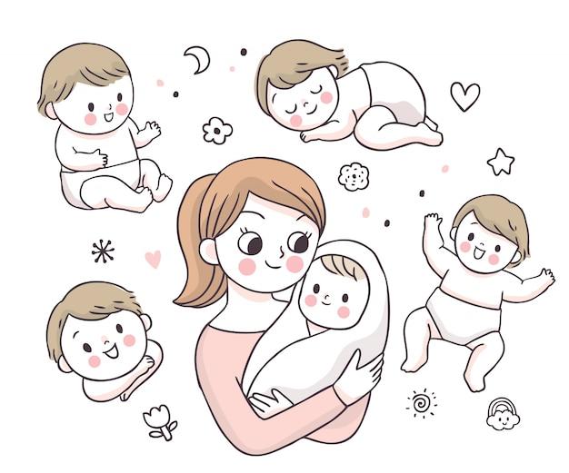Kreskówki śliczna Urocza Matka I Dziecko Doodle. Premium Wektorów