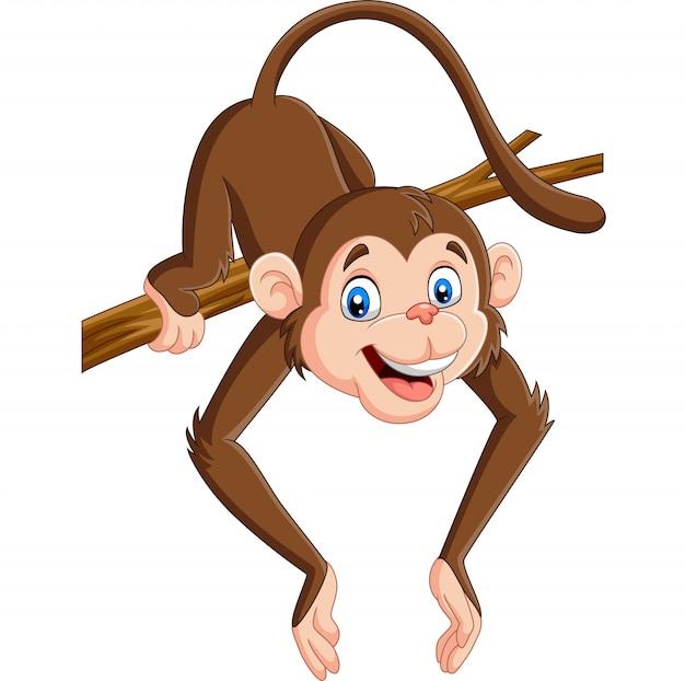 Kreskówki śmieszna małpa na gałąź Premium Wektorów