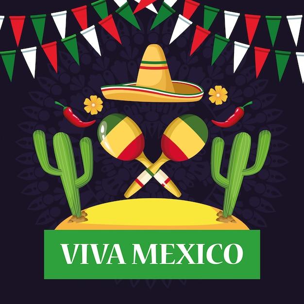 Kreskówki Viva Z Kartami Meksykańskimi Premium Wektorów