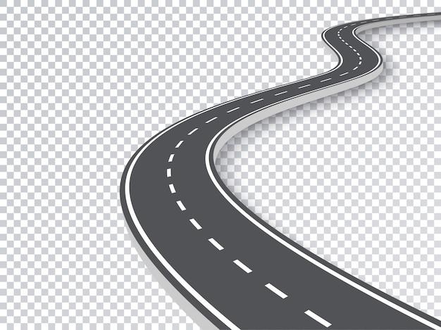 Kręta droga na białym tle przezroczysty efekt specjalny. Premium Wektorów