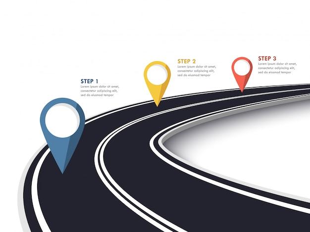 Kręta droga sposób lokalizacji infographic szablon ze wskaźnikiem pin. Premium Wektorów