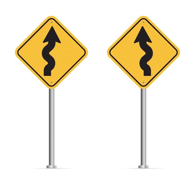 Kręta droga znak na białym tle. Premium Wektorów
