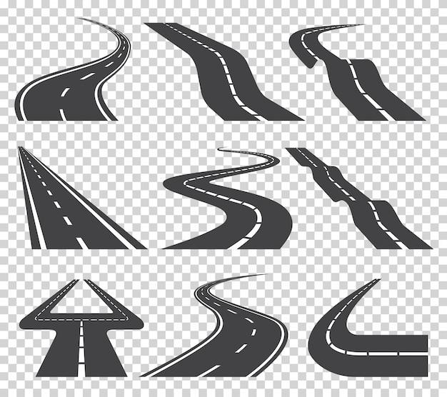 Kręta zakrzywiona droga lub autostrada z oznaczeniami. kierunek, zestaw transportowy. ilustracja wektorowa na przezroczystym Premium Wektorów