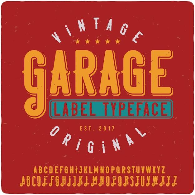 Krój Pisma Etykiety Garażu Premium Wektorów