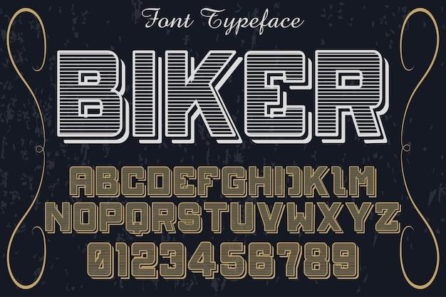 Krój pisma rowerzysta do projektowania etykiet shadow effect Premium Wektorów
