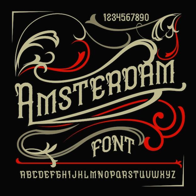 """Krój Pisma Vintage O Nazwie """"amsterdam"""". Darmowych Wektorów"""