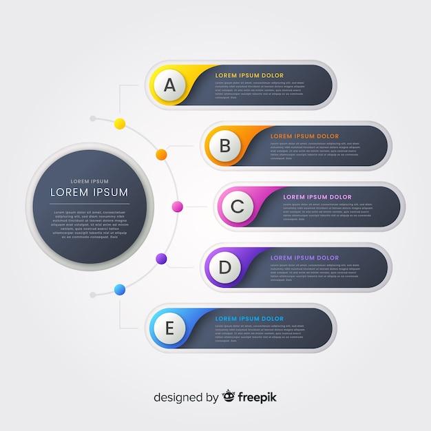 Kroki Infografiki Gradientu Darmowych Wektorów