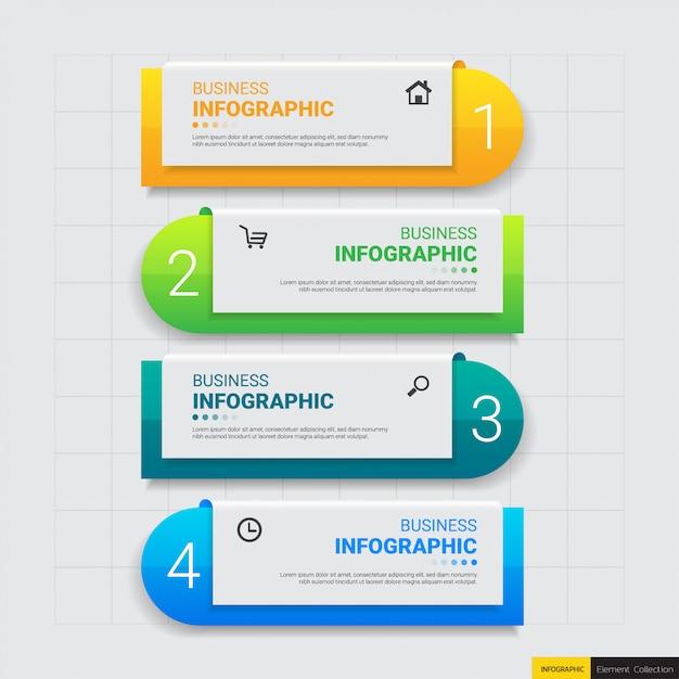 Kroki nowoczesnego biznesu infographic Premium Wektorów