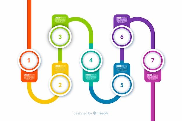 Kroki płaskie kolorowe infografiki Darmowych Wektorów