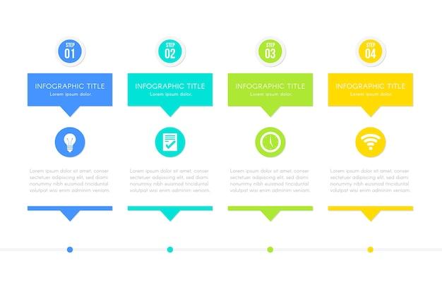 Kroki Szablon Infografikę Darmowych Wektorów