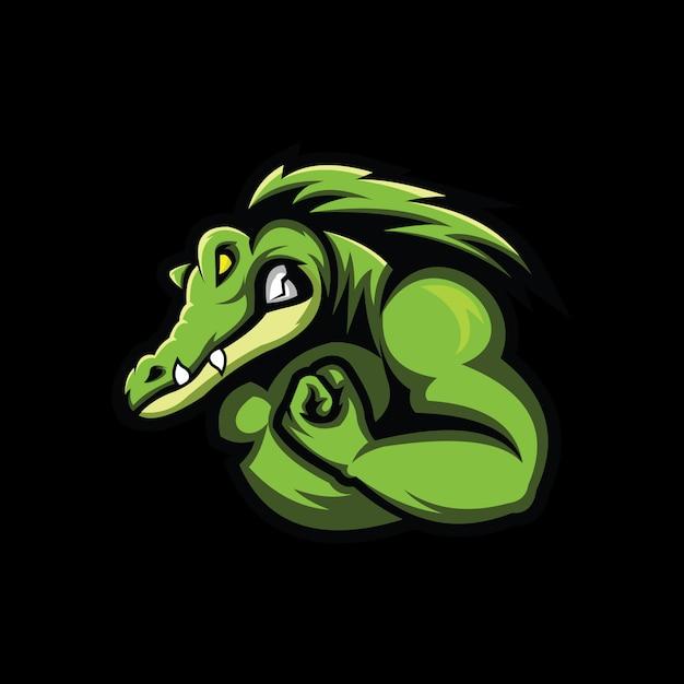 Krokodyl Głowa Ilustracja Na Czarnym Tle Premium Wektorów
