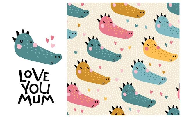 Krokodyl. Kocham Cię Mamo. śliczna Twarz Zwierzęcia Z Napisem I Wzór. Premium Wektorów