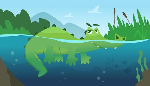 Krokodyl w wodzie. aligatora płaza gad dziki zielony gniewny dzikiego zwierzęcia pływacki kreskówki tło Premium Wektorów
